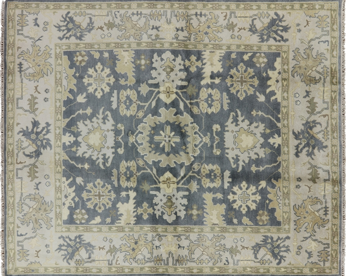 8 X10 Hand Knotted Oriental Oushak Blue Wool Area Rug W388
