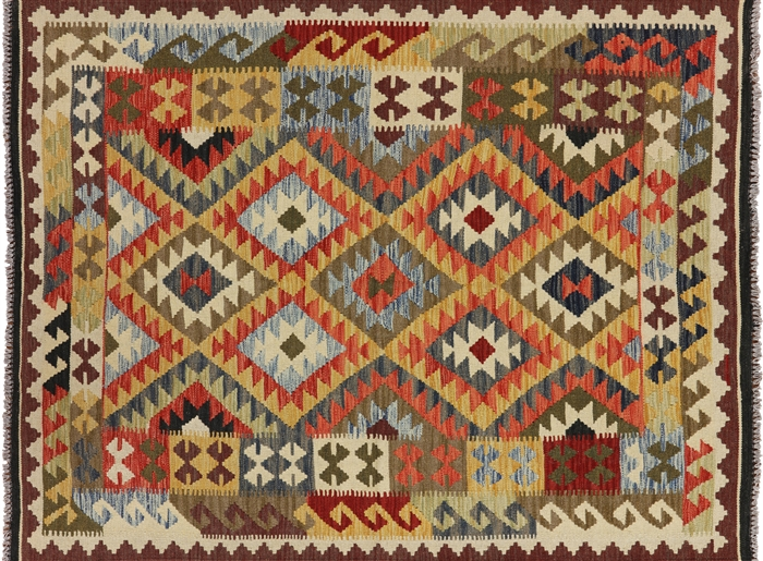 Reversible Kilim 5 X7 Tribal Flat Weave Hand Knotted Wool